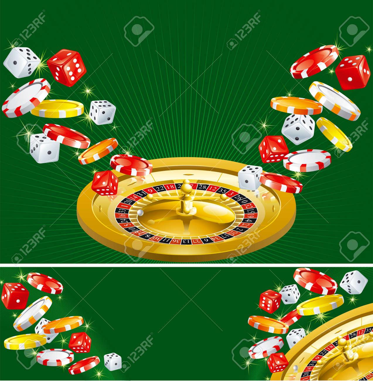 2 つのカジノの背景 壁紙やカジノ サイコロ チップ 緑色の背景でルーレットのバナー のイラスト素材 ベクタ Image