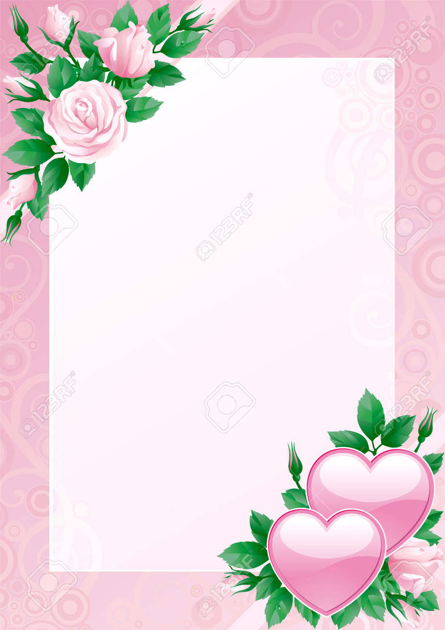 Valentines card. Hearts and pink roses on ornate background. Stock Vector - 11910080