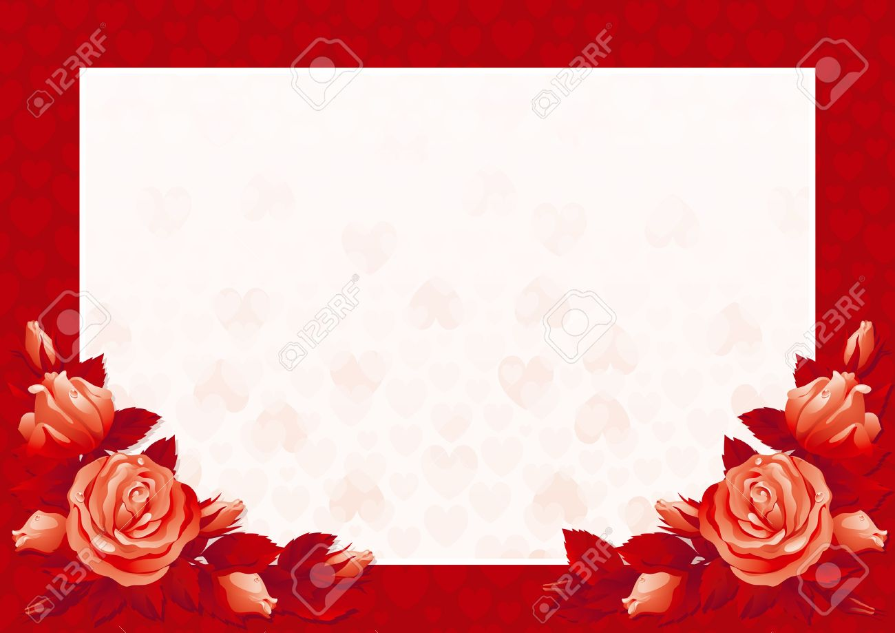 Valentines Card Vector Border With Many Red Roses And Hearts