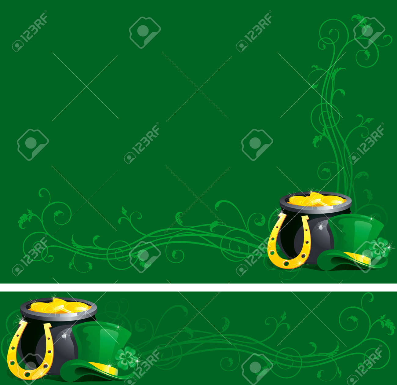 background and banner of pot with gold coins,  horseshoe and leprechaun hat with clover for St. Patrick Stock Vector - 12413696