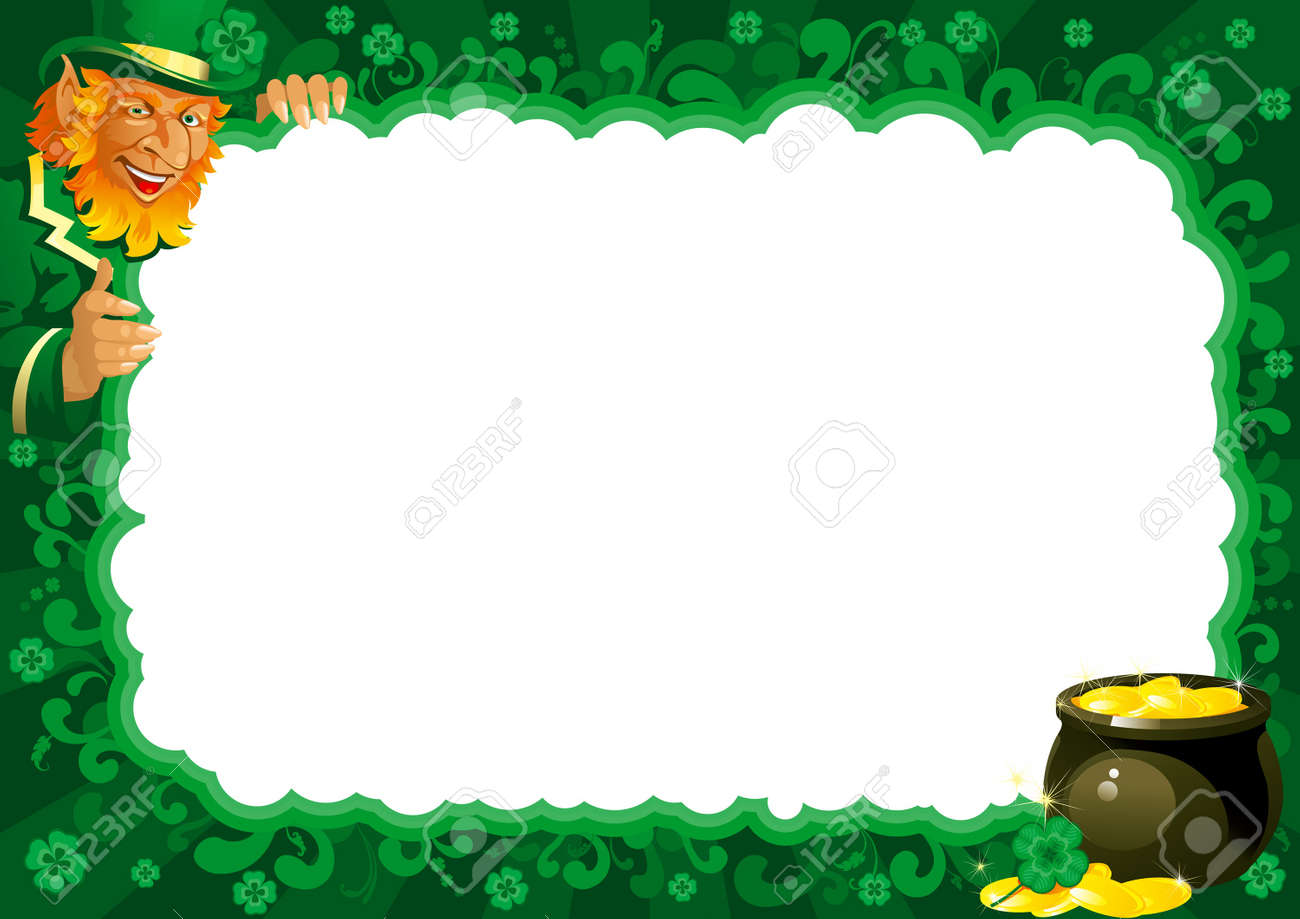 Lucky leprechaun and pot with gold coins on abstract frame for St. Patrick Stock Vector - 12413697