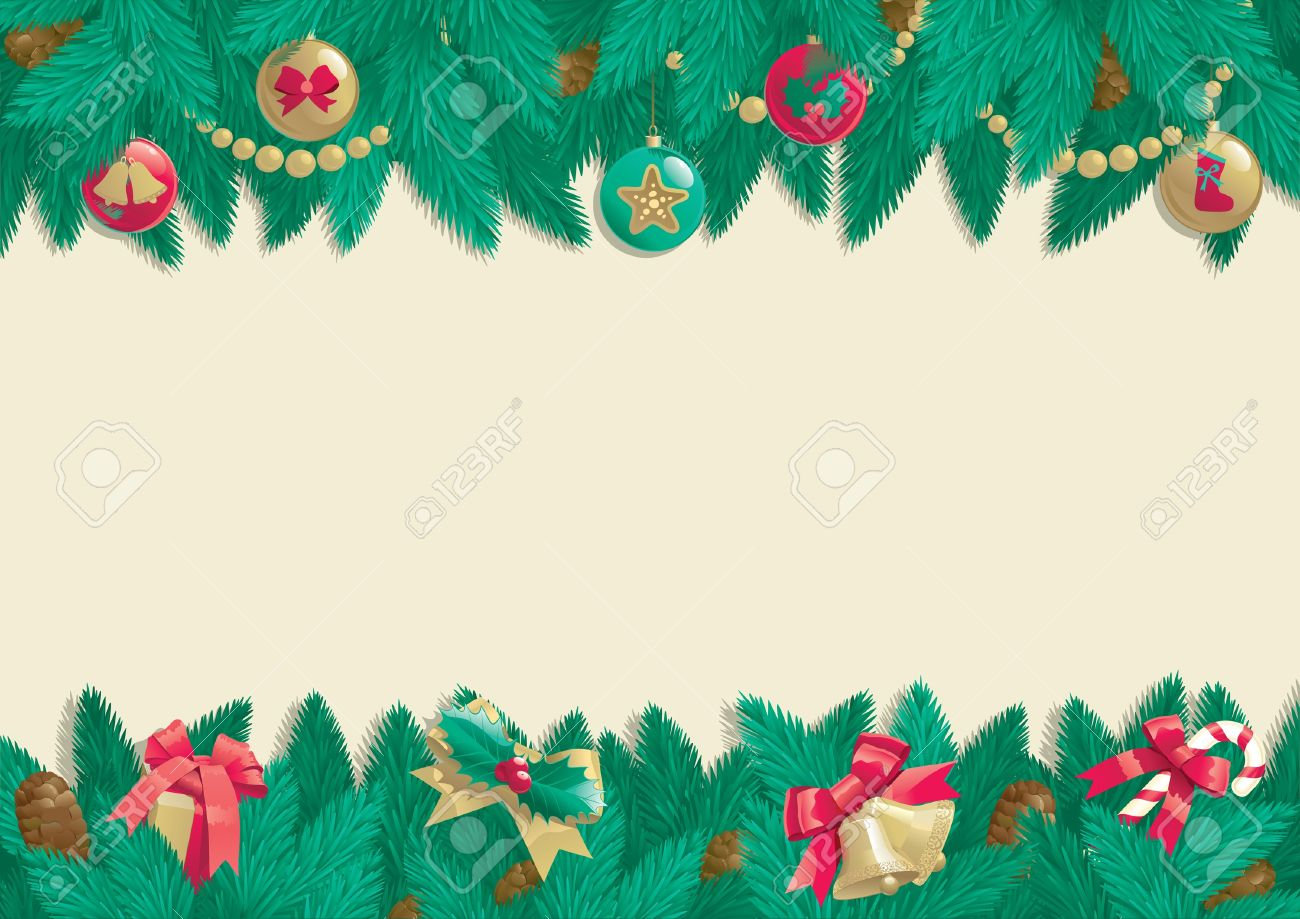 Christmas background  Vector card of christmas fir tree with Christmas decorations and cone on abstract background Stock Vector - 16460098