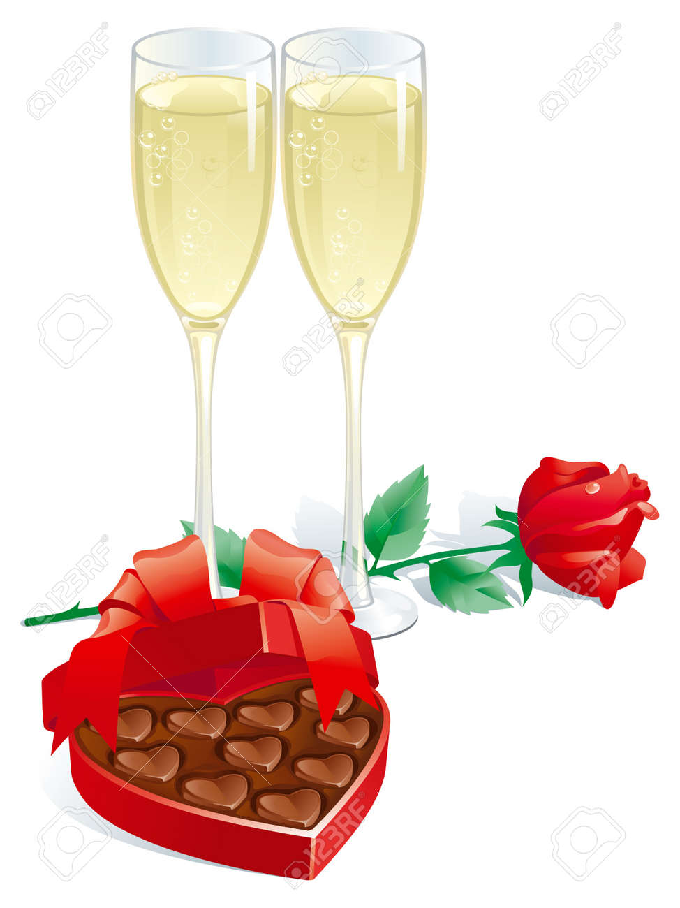 valentines gift vector of two champagne flutes red rose and rh 123rf com