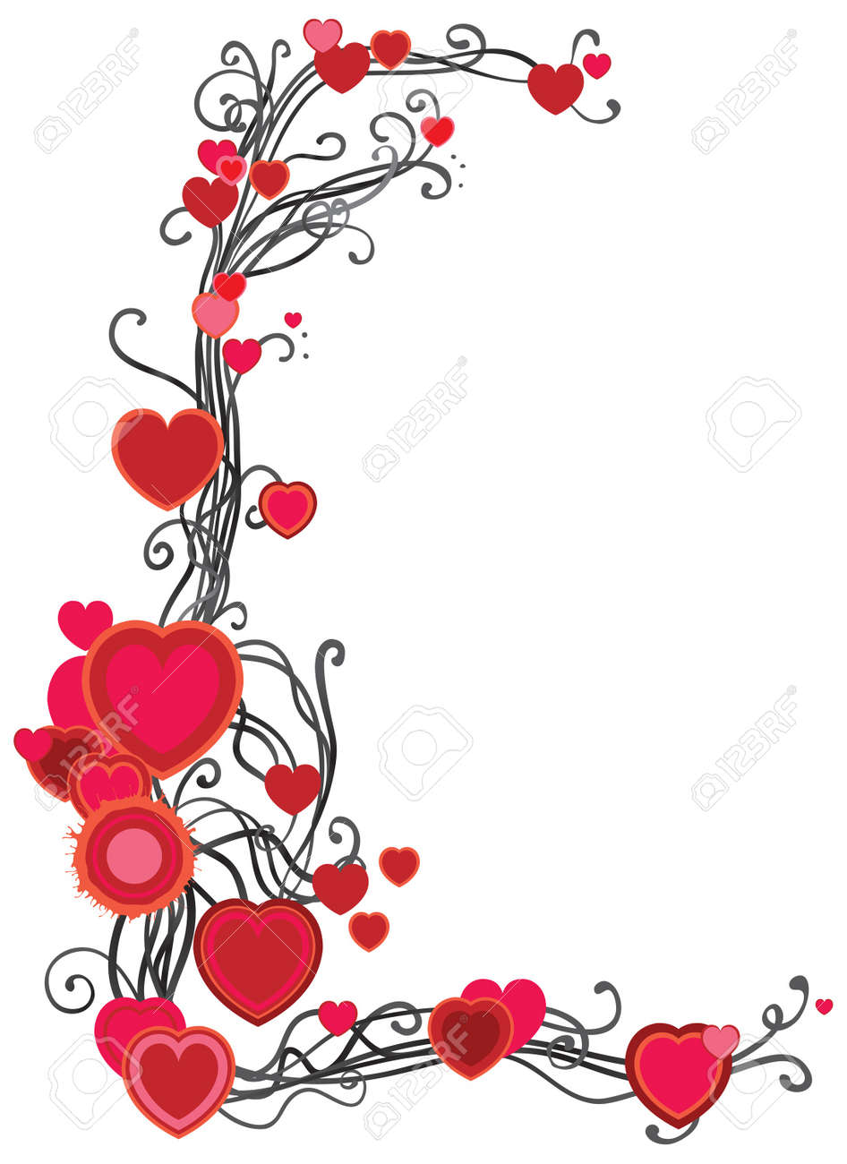 decorative frame with hearts  on white background Stock Vector - 17490559
