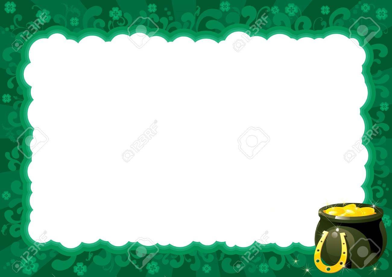 Frontera Para El Día De St Patrick Marco Adornado Con S Olla ...