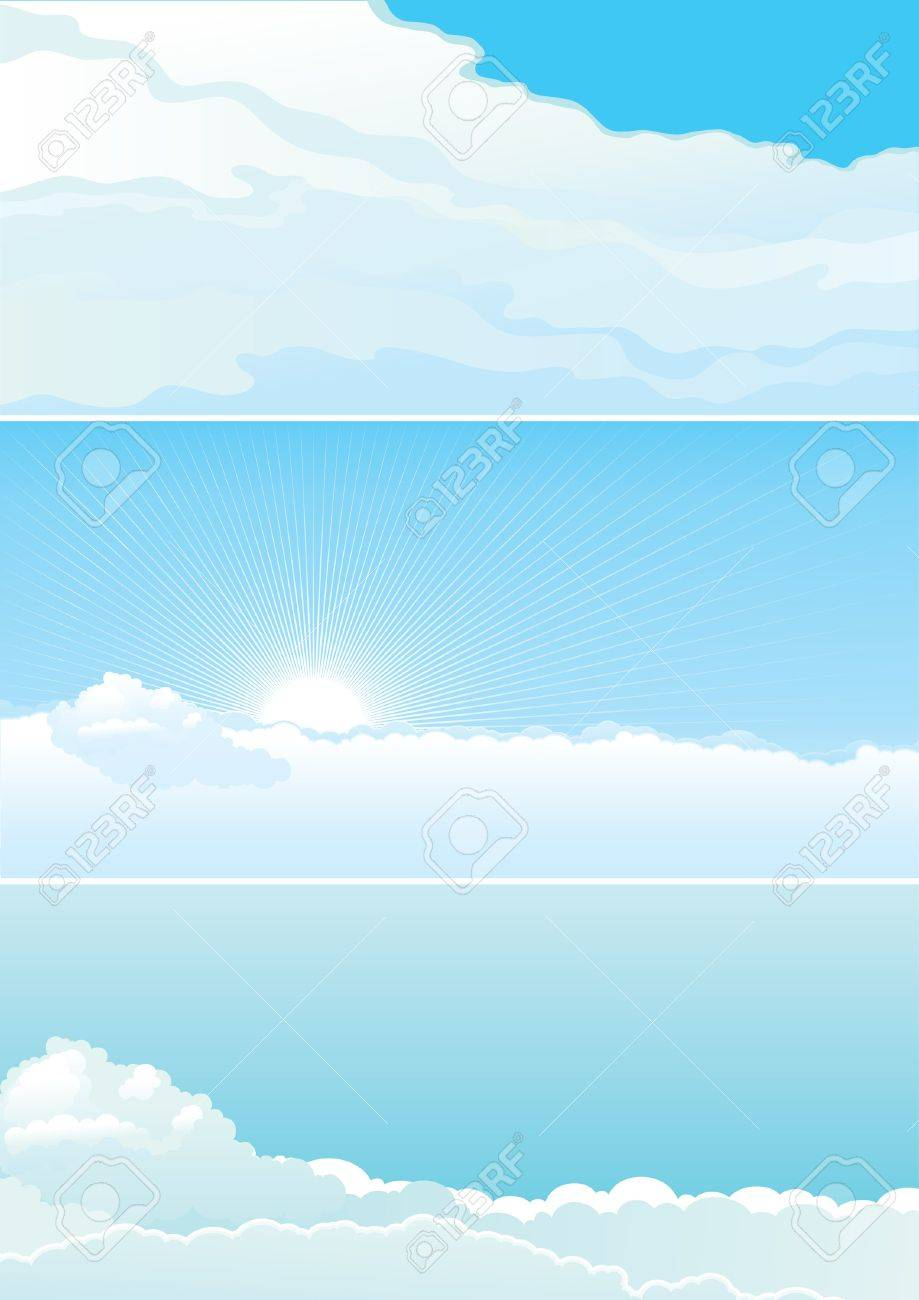 Cloudy sky  Vector set of color sky with clouds, sun and  beams Stock Vector - 17712060