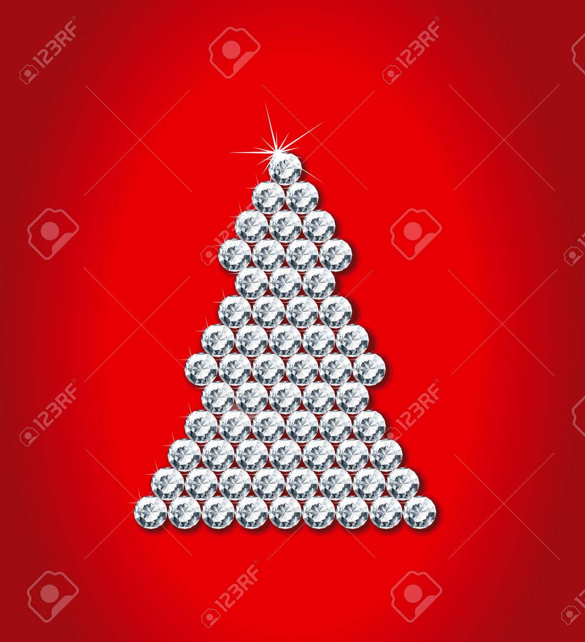 Diamond christmas tree  Vector illustration of christmas decoration with diamond glamour fir tree Stock Vector - 23284684