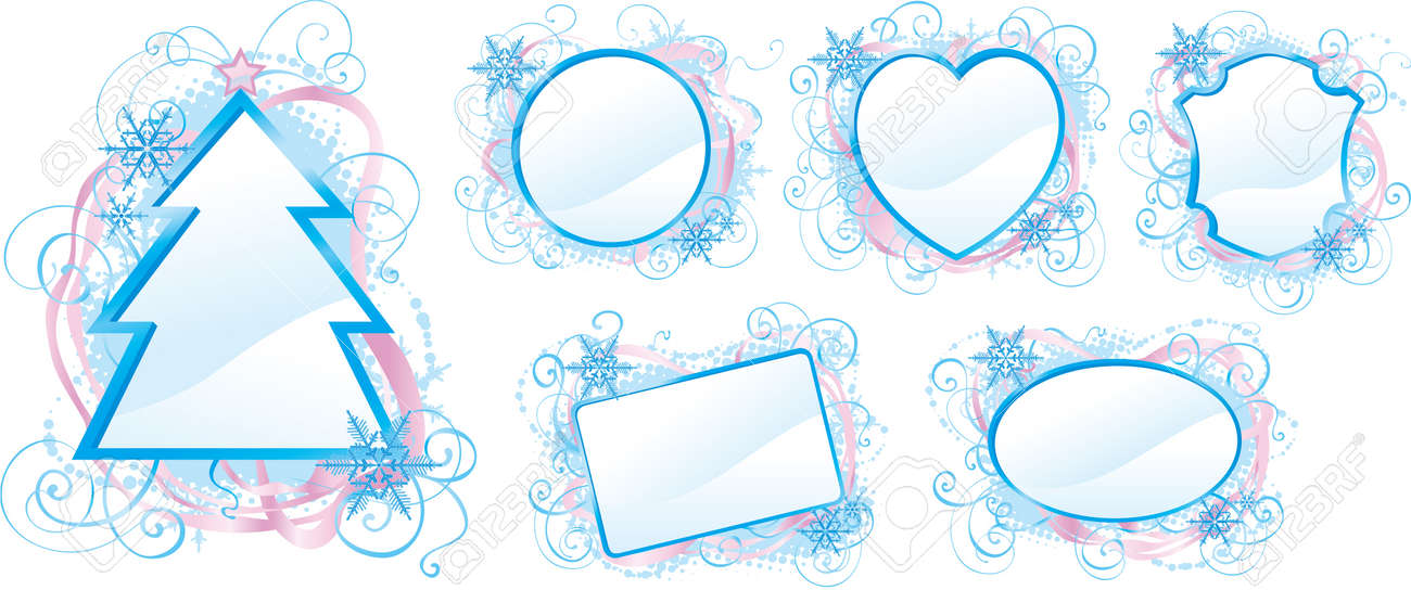 Winter Borders Set Of Vector Ornate Frames With Snowflakes Royalty ...