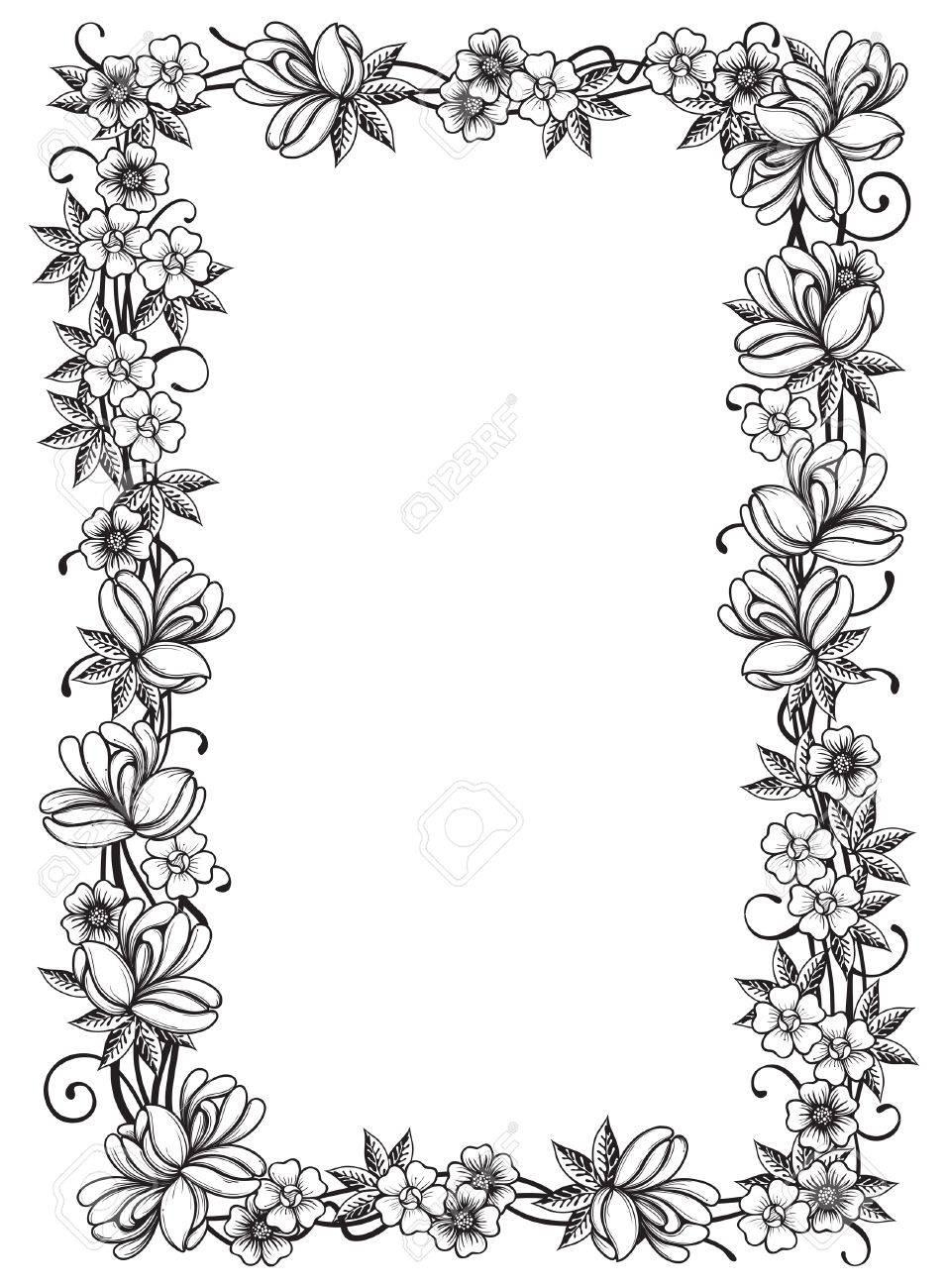 Retro Floral Rahmen Verzierten Grenze Mit Vielen Blumen Und Blätter ...