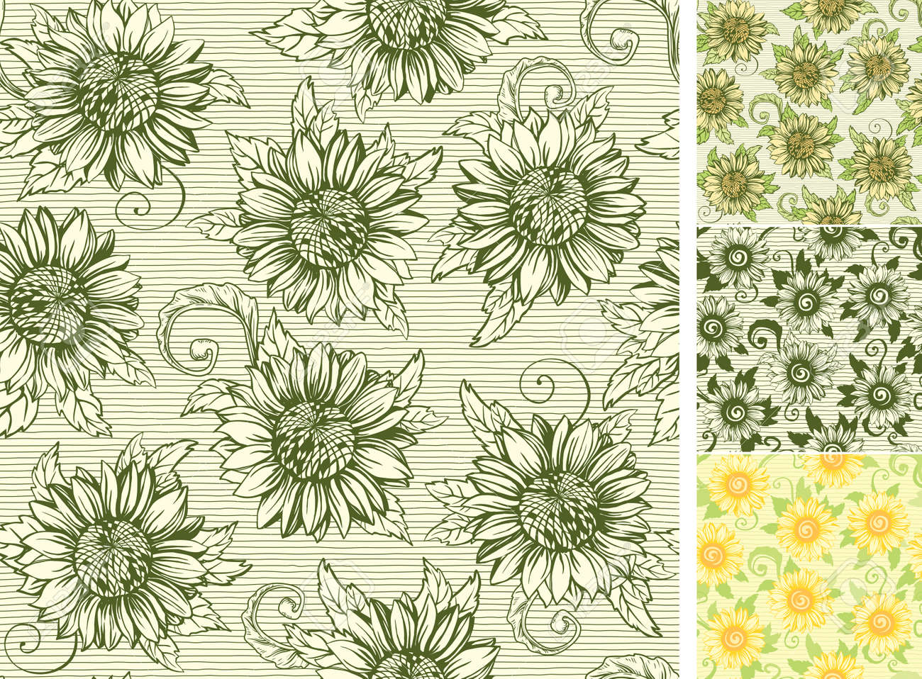 Vintage Floral Backgrounds Vector Ornate Seamless Patterns