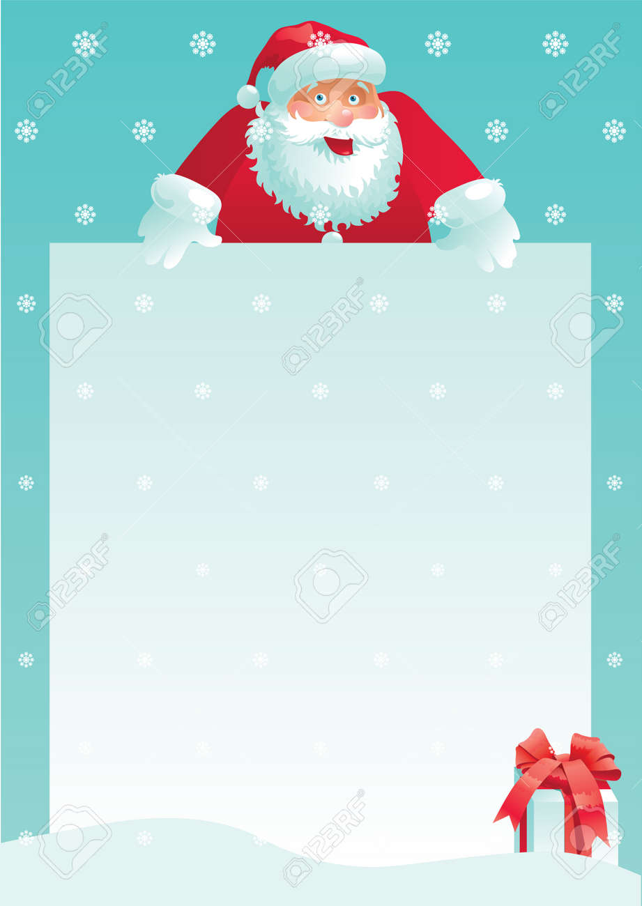 Santa claus and gift box with christmas letter vector illustration santa claus and gift box with christmas letter vector illustration of santa claus and gift spiritdancerdesigns Image collections