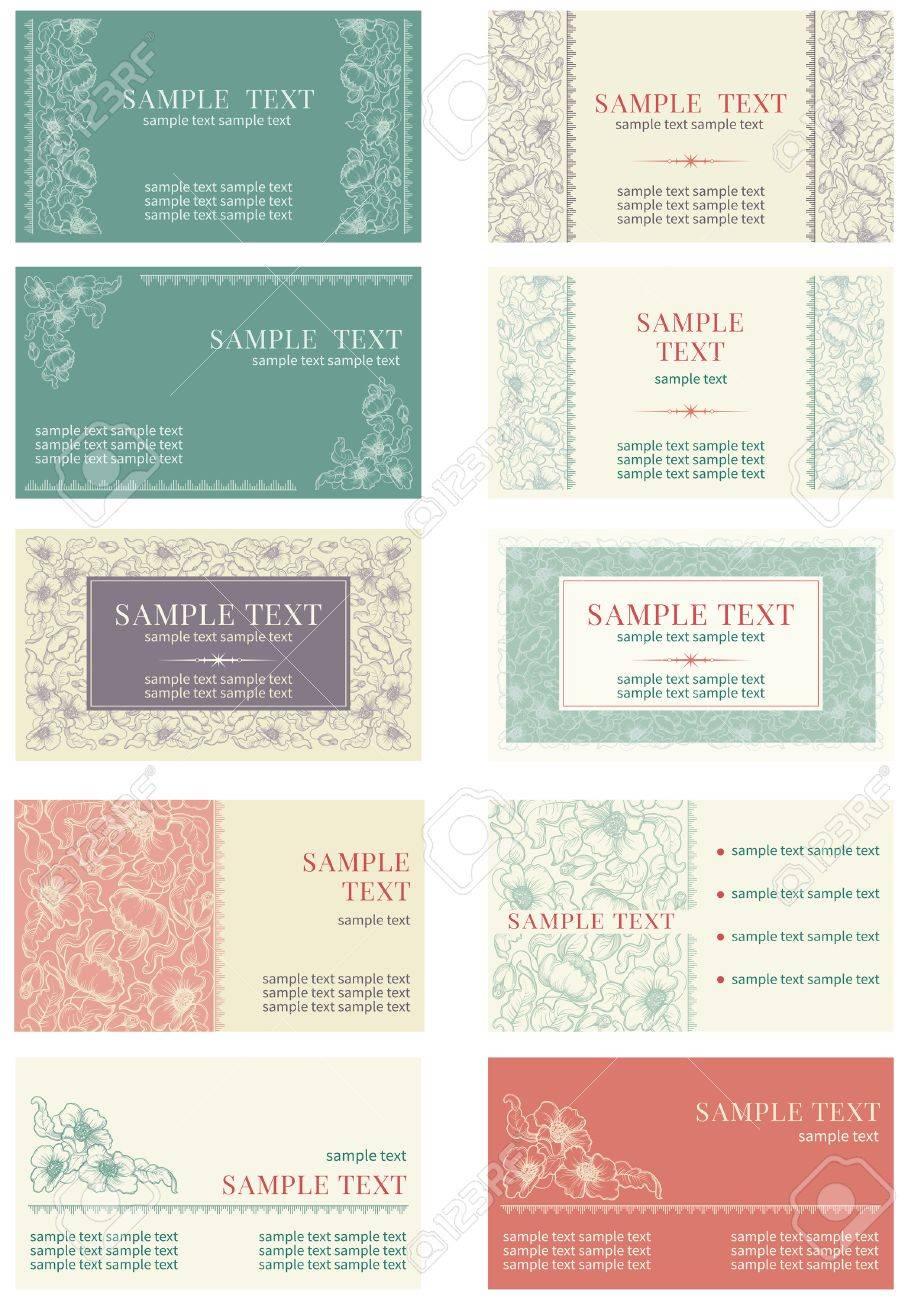 Carte De Visite Vector Banners Avec Des Inscriptions Au Style