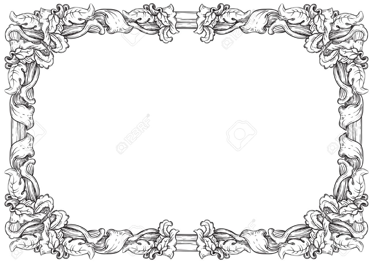 Vintage frame  Vector retro background with ornate border at