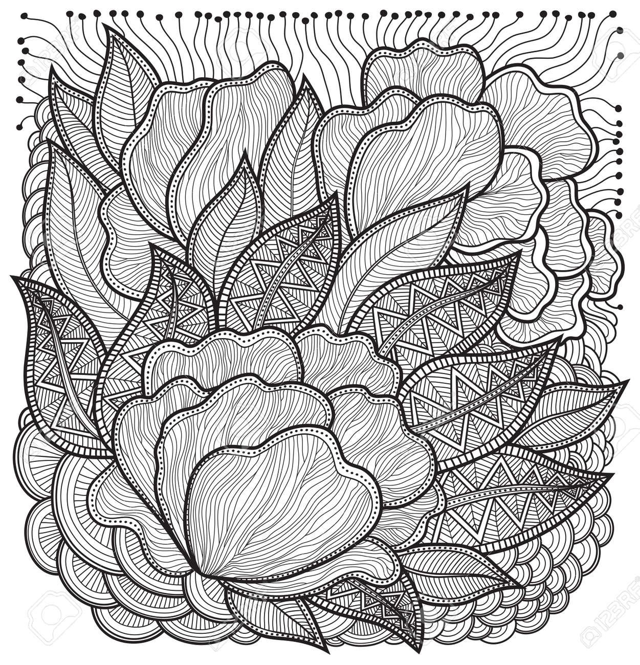 Mao Desenhada Abstrato Desenho Floral Abstrato Do Esboco Do Vetor