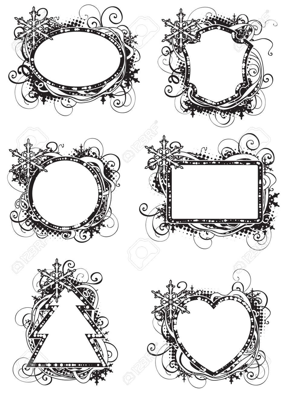 Holidays Black And White Frames. Set Of Vector Ornate Blue Frames ...