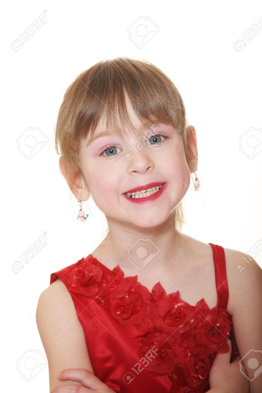Confident 5 Year Old Little Girl In Red Dress & Earrings Stock Photo   2395288