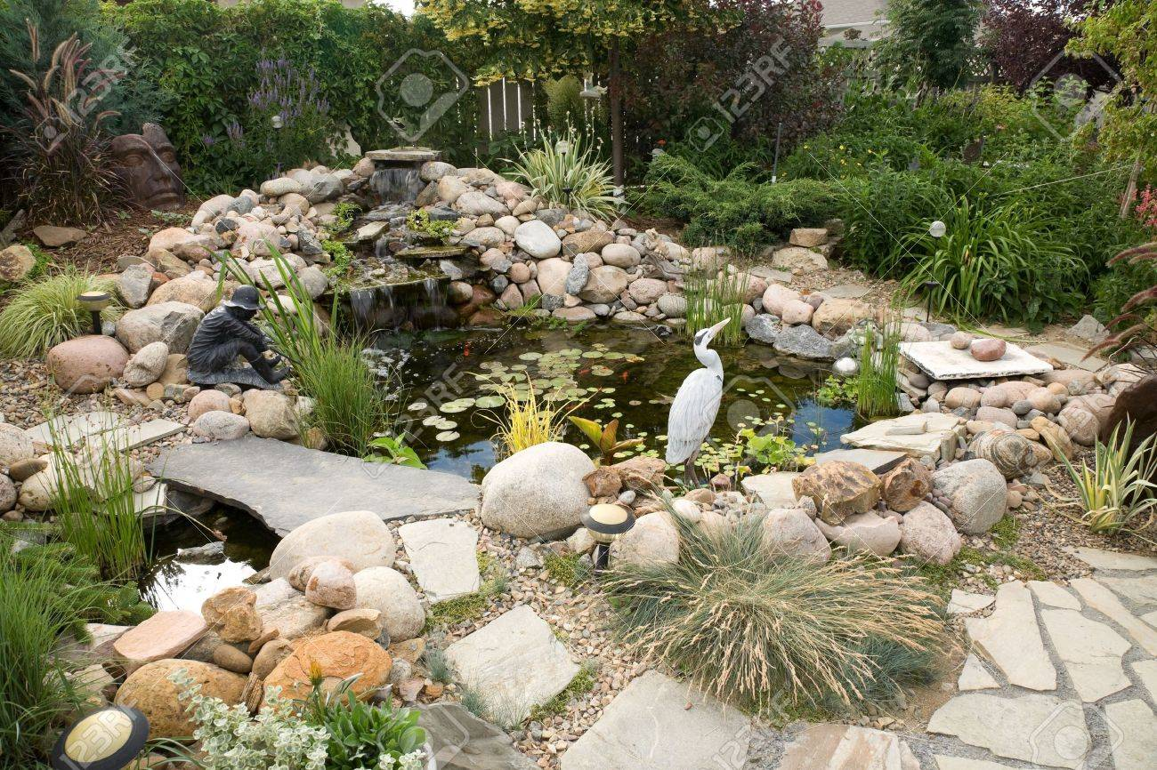 a large water feature turns a small backyard into a delightful