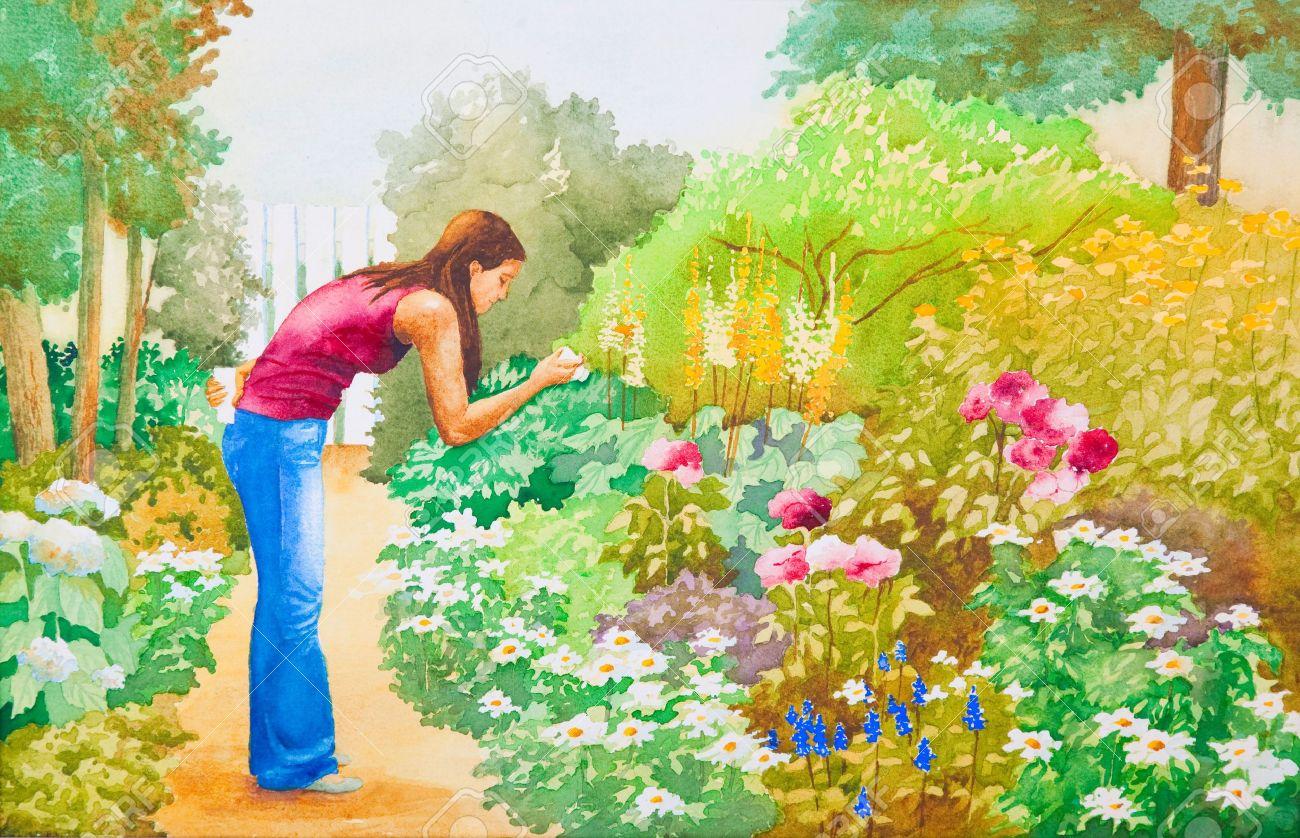 un originale acquerello dipinto di una giovane ragazza a scattare ... - Giardino Fiorito Disegno