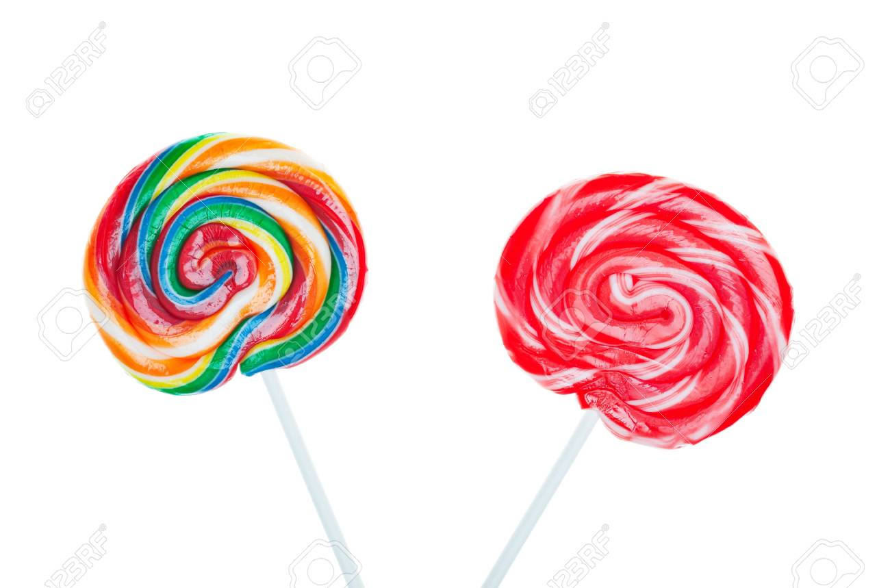 Swirled and colorful candy lollipops on white background. Stock Photo - 7142423