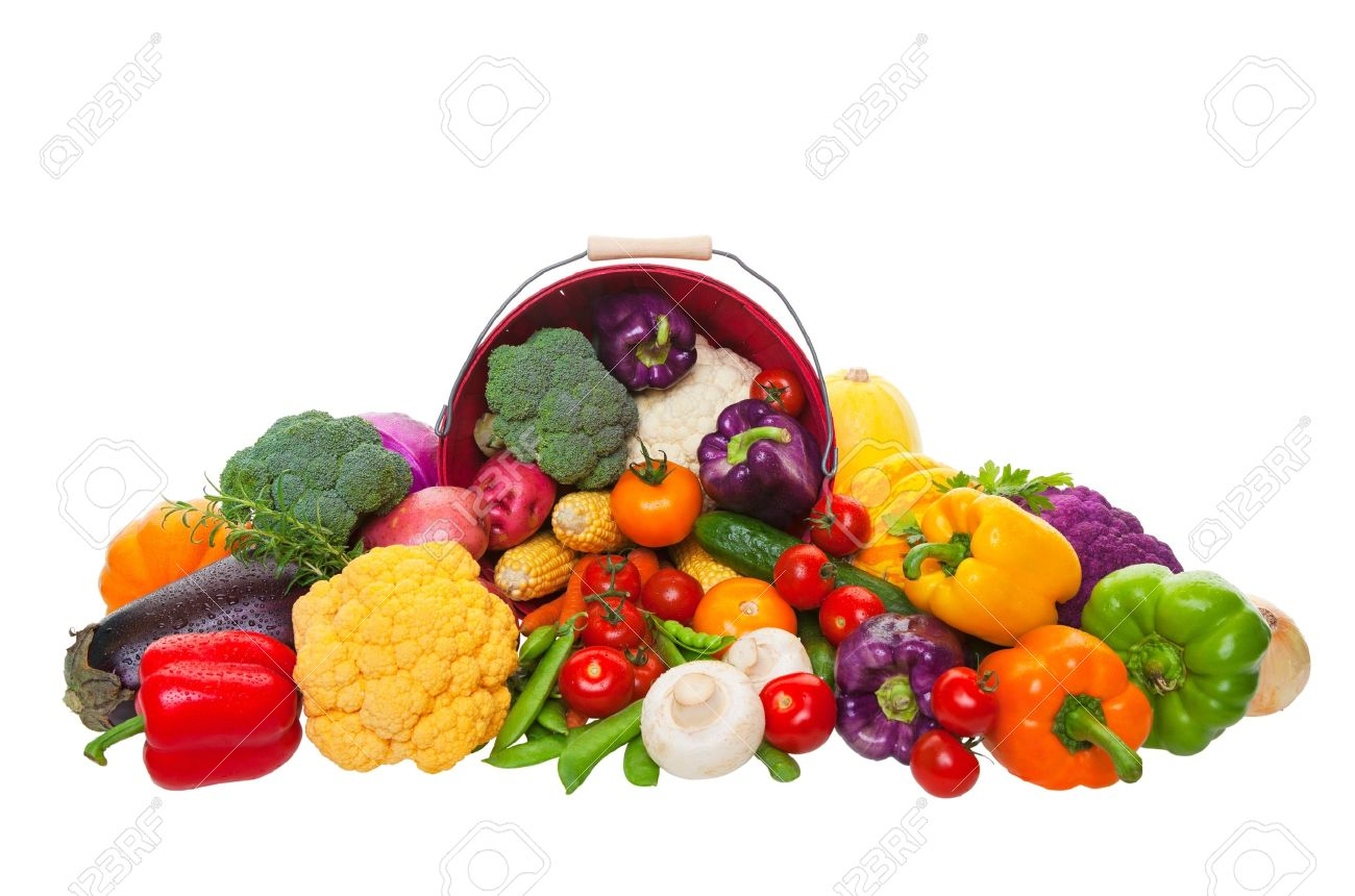 A farmers market display of fresh vegetables with a red bushel basket.  Shot on white background. Stock Photo - 10359632