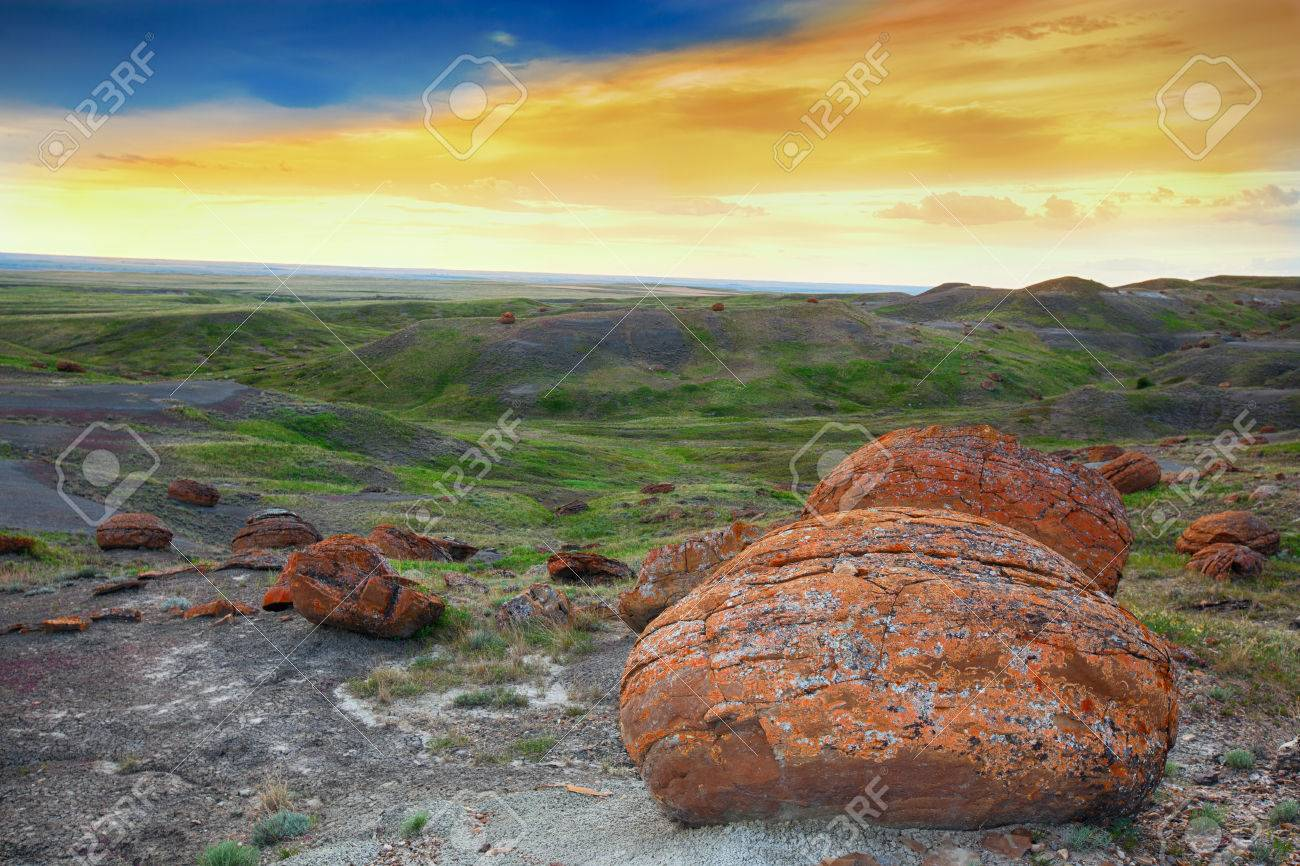 An evening landscape shot at Red Rock Coulee  The most striking