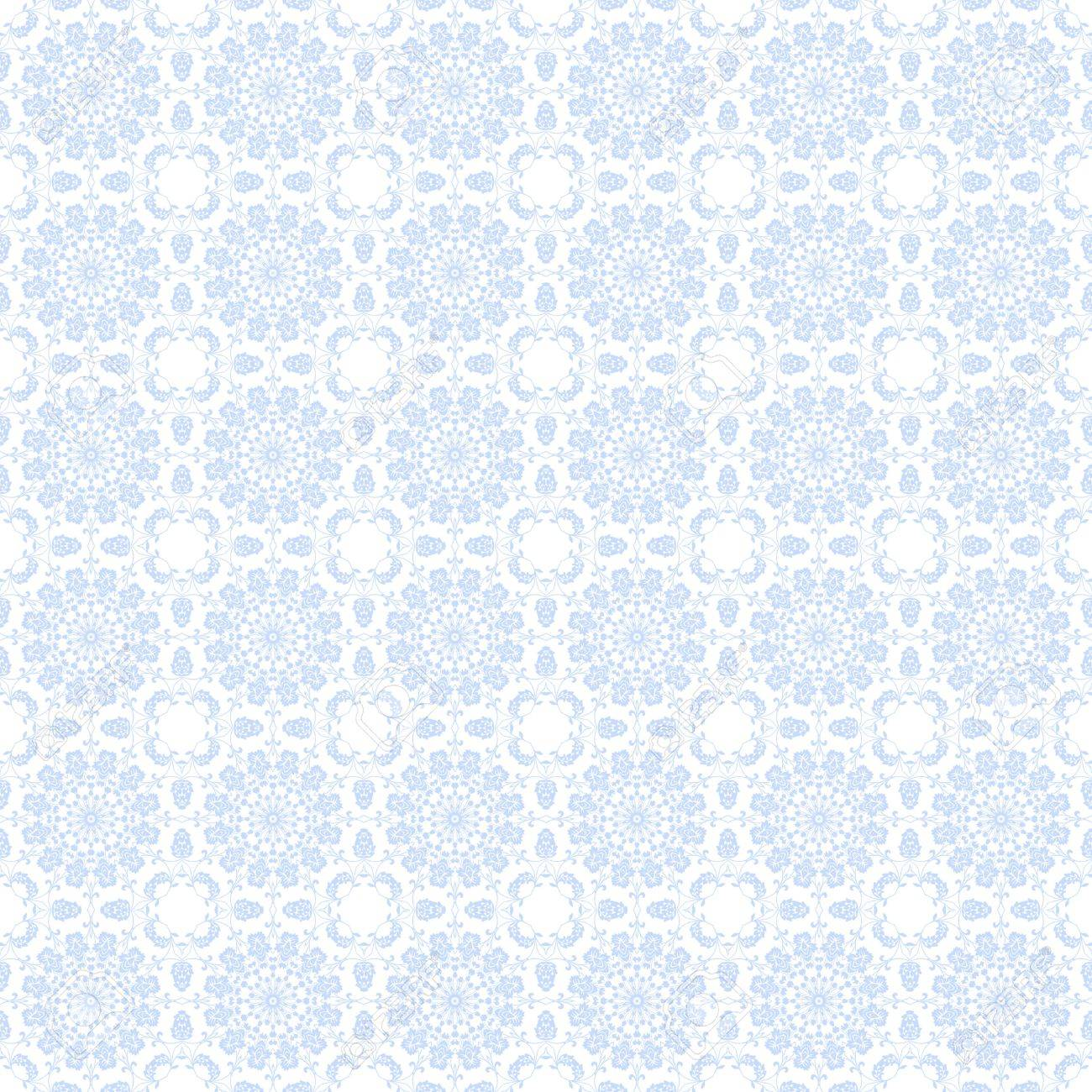 Seamless Pale Blue Floral Kaleidoscope Background Wallpaper Stock