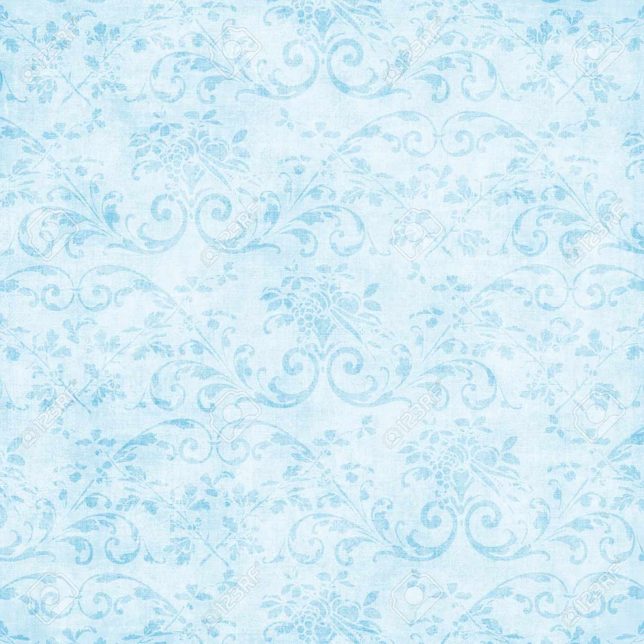 Vintage Light Blue Floral Tapestry Stock Photo Picture And