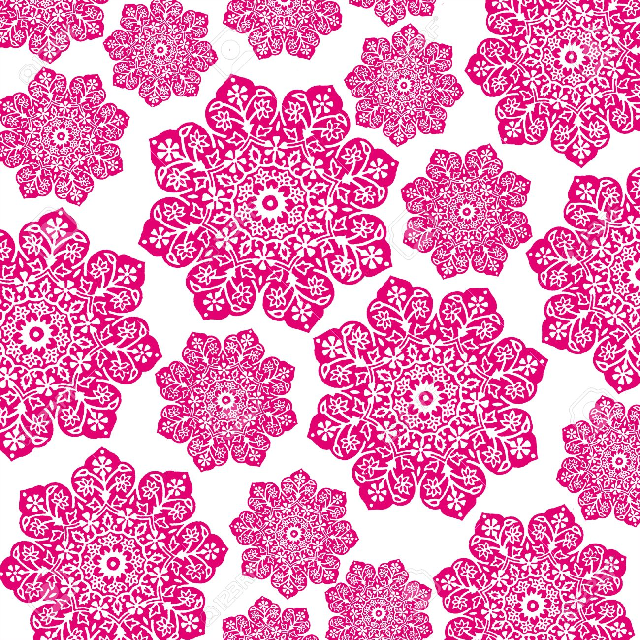 Hot Pink White Floral Batik Stock Photo Picture And Royalty