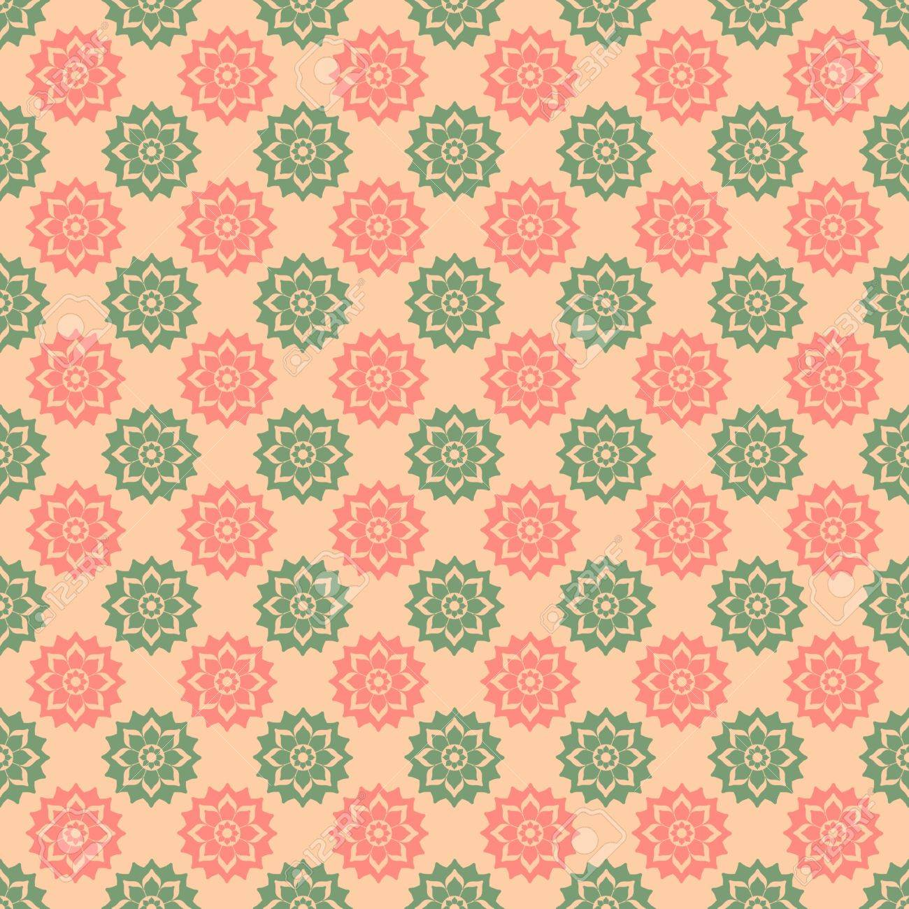 Pink & Green Floral Medallions Stock Photo - 17226819