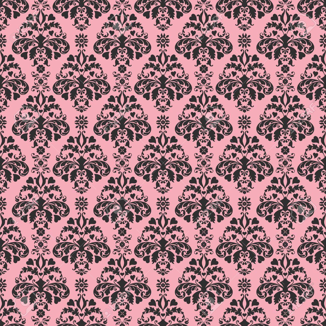 Seamless Pink Black Damask Stock Photo