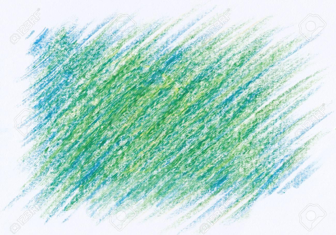 手描き緑青い抽象クレヨン背景 の写真素材 画像素材 Image
