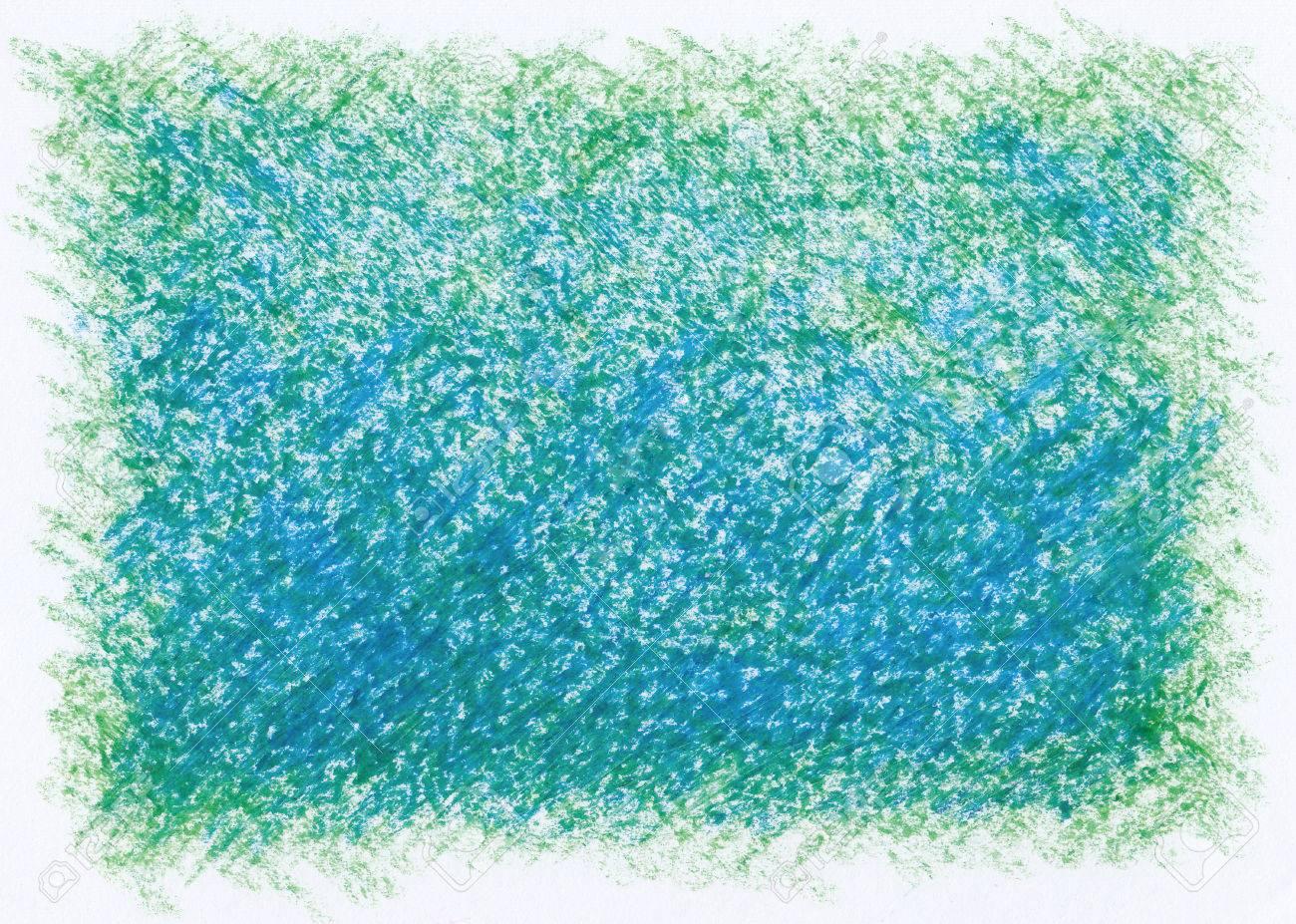 青い緑の抽象的なクレヨン背景 の写真素材 画像素材 Image