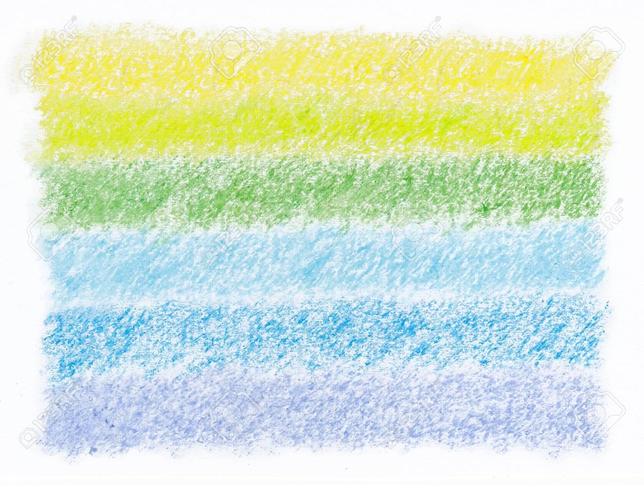 抽象の緑のトーン クレヨン層の芸術の背景 の写真素材 画像素材 Image