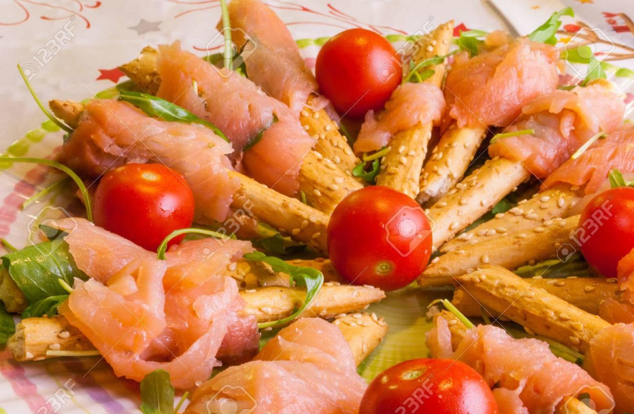 Diat Gerichte Auf Den Tisch Mit Lachs Tomaten Garnelen Rucola