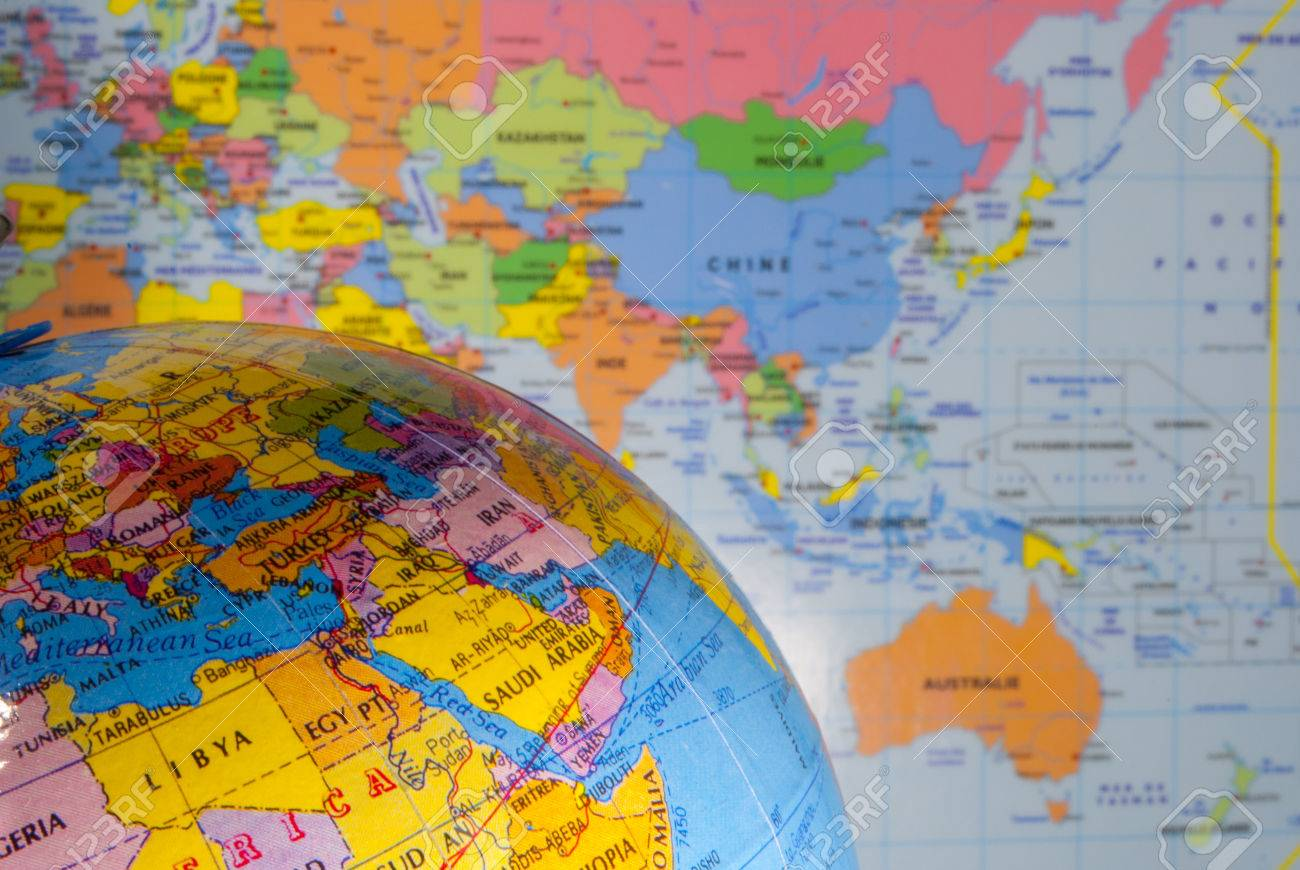 Study geography oceans countries and continents with the world stock photo study geography oceans countries and continents with the world map gumiabroncs Gallery
