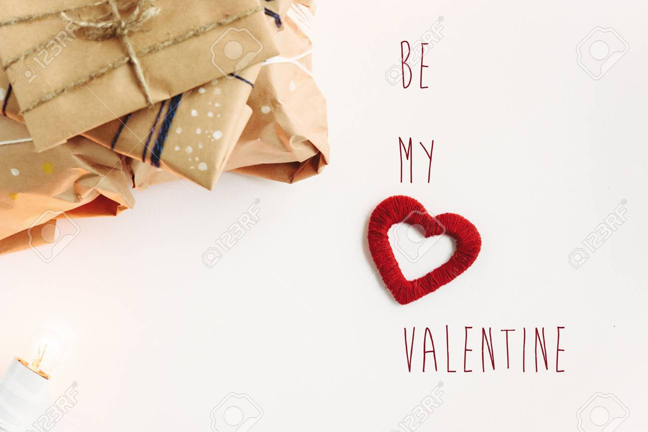 Stylish craft presents for special occasions be my valentines stock photo stylish craft presents for special occasions be my valentines text happy holiday greeting card concept m4hsunfo