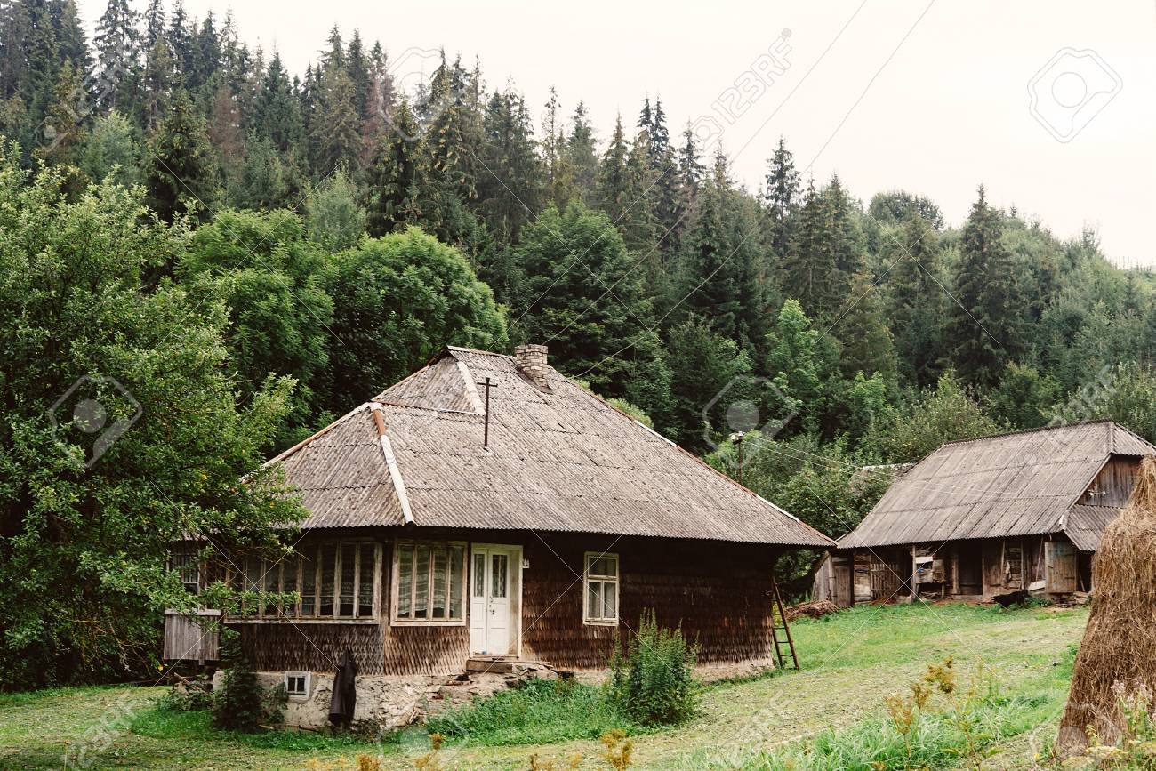 Beautiful Old Wooden Cabin Cottage At Mountains And Woods Summer Countryside Travel Explore Concept