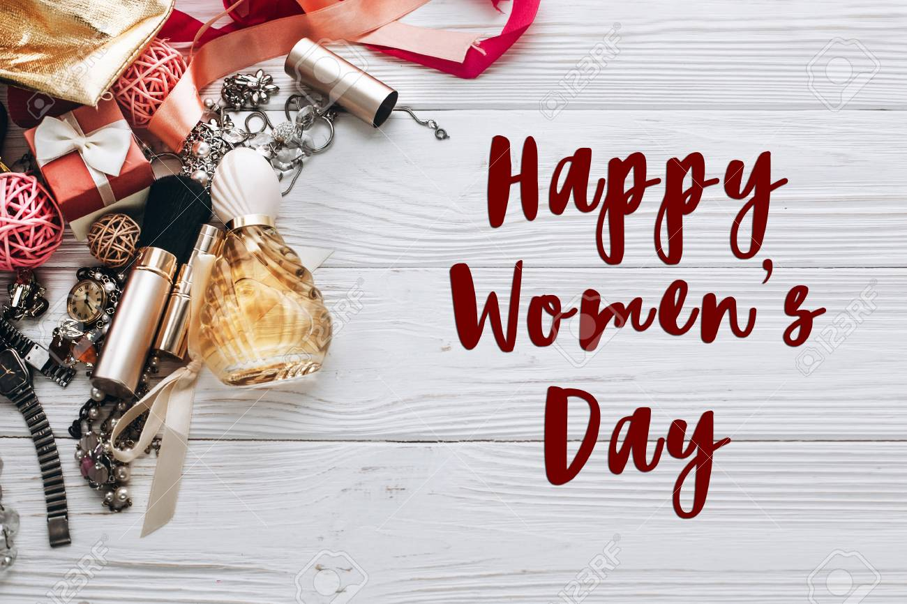 Happy Womens Day Text Sign On Luxury Jewelry Perfume And Watch