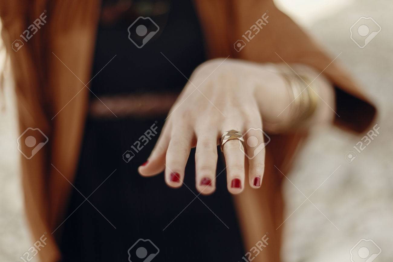 Stylish Boho Woman Showing Hand With Rings. Gypsy Hipster Girl ...