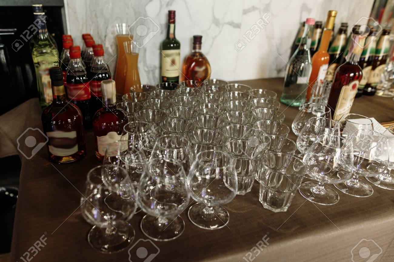 Luxury Transparent Glasses For Whiskey And Cognac On Stylish Stock