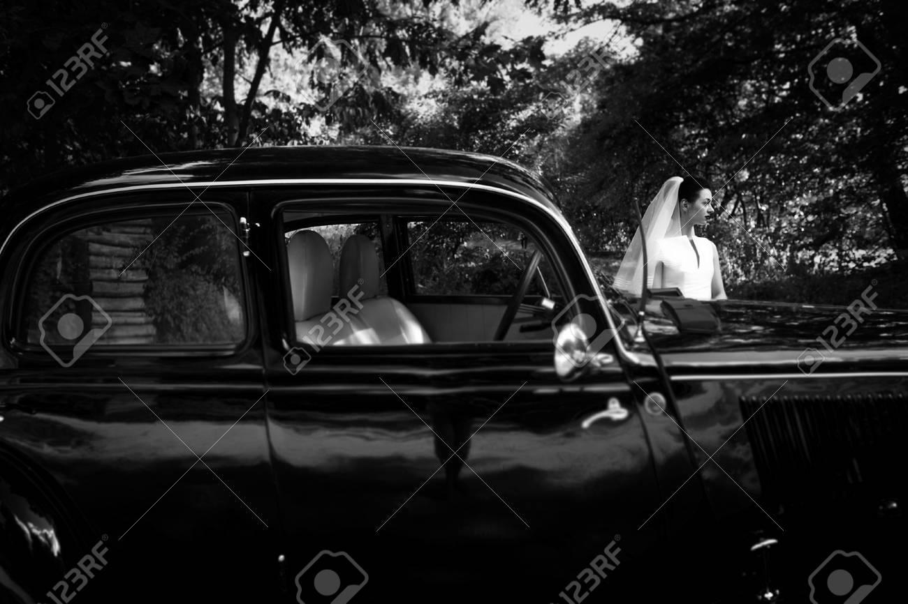 Elegant Gorgeous Bride On Background Of Stylish Black Car Luxury Stock Photo Picture And Royalty Free Image Image 75733797
