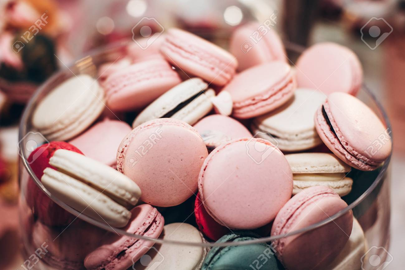 Delicious Macaroons Close-up. Candy Bar At Luxury Wedding Reception ...