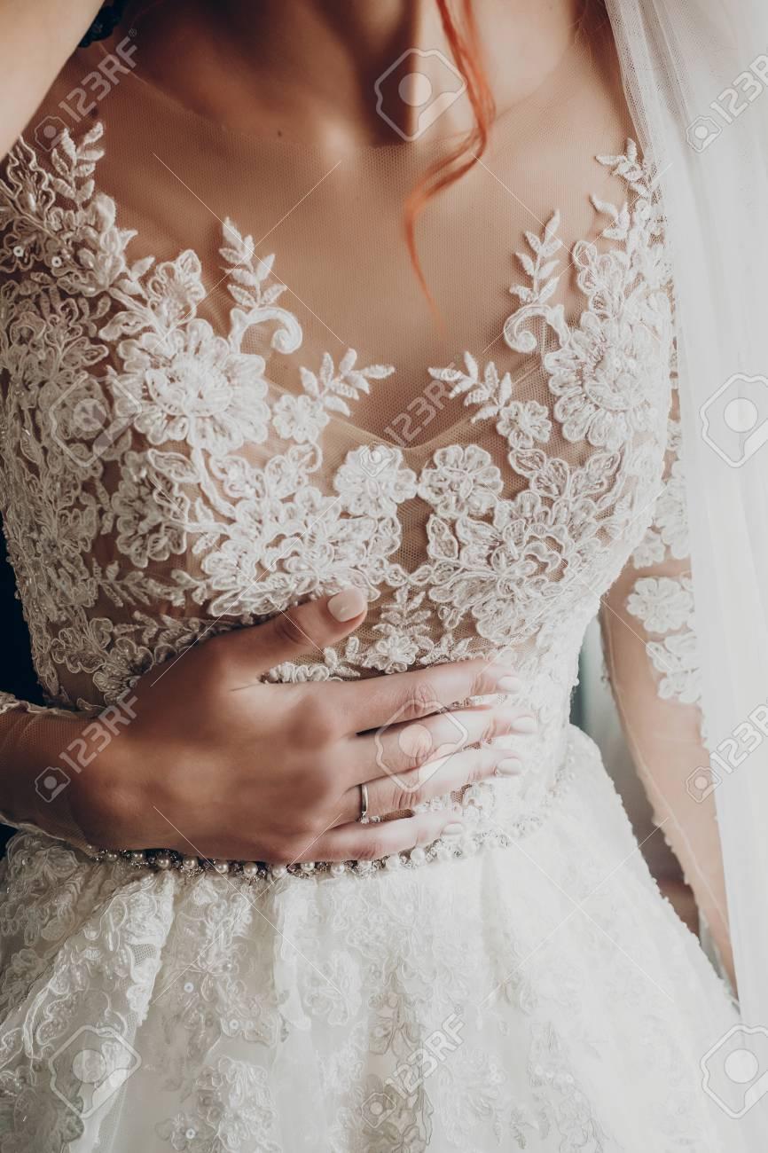 Stylish Happy Bride Hand On Luxury Wedding Dress Amazing Modern Stock Photo Picture And Royalty Free Image Image 76560567
