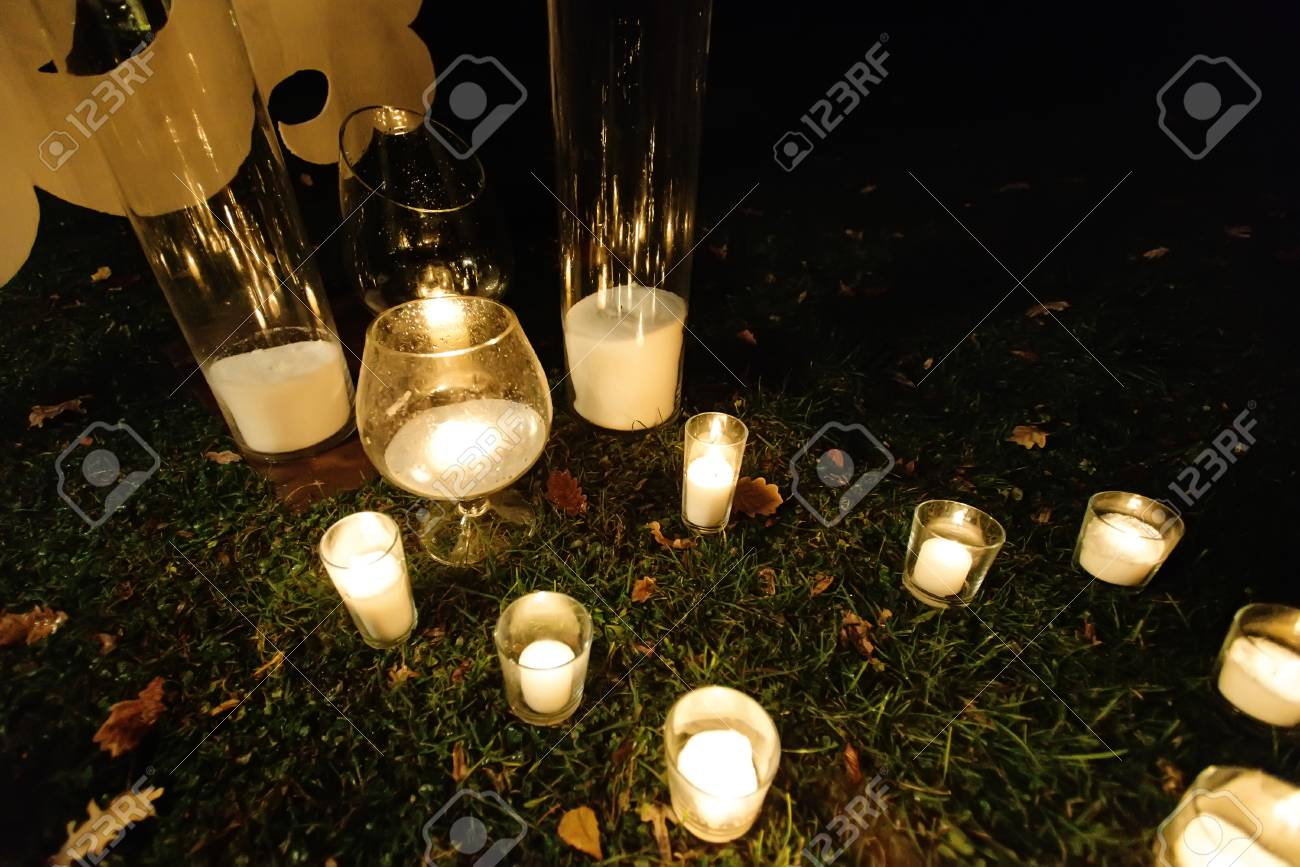 Romantic Candle Light In Glass Lanterns At Luxury Wedding Ceremony Stock Photo Picture And Royalty Free Image Image 77370308