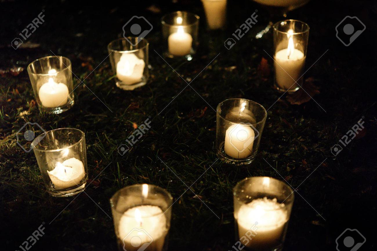 romantic candle light in glass lanterns at luxury wedding ceremony in evening decor and arrangements & Romantic Candle Light In Glass Lanterns At Luxury Wedding Ceremony ...