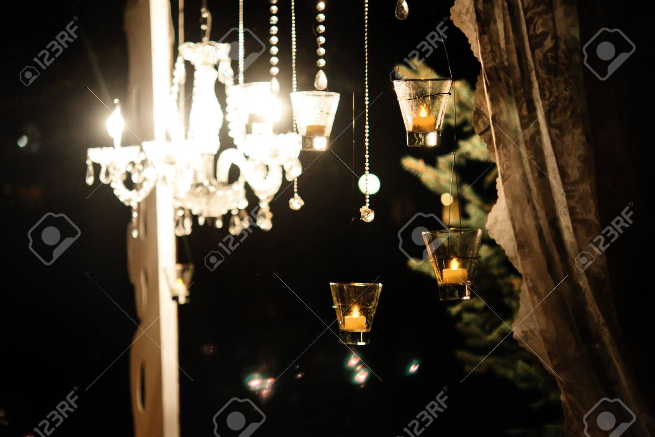 Candle Light In Glass Lanterns And Gorgeous Lamp At Luxury Wedding Stock Photo Picture And Royalty Free Image Image 76941250