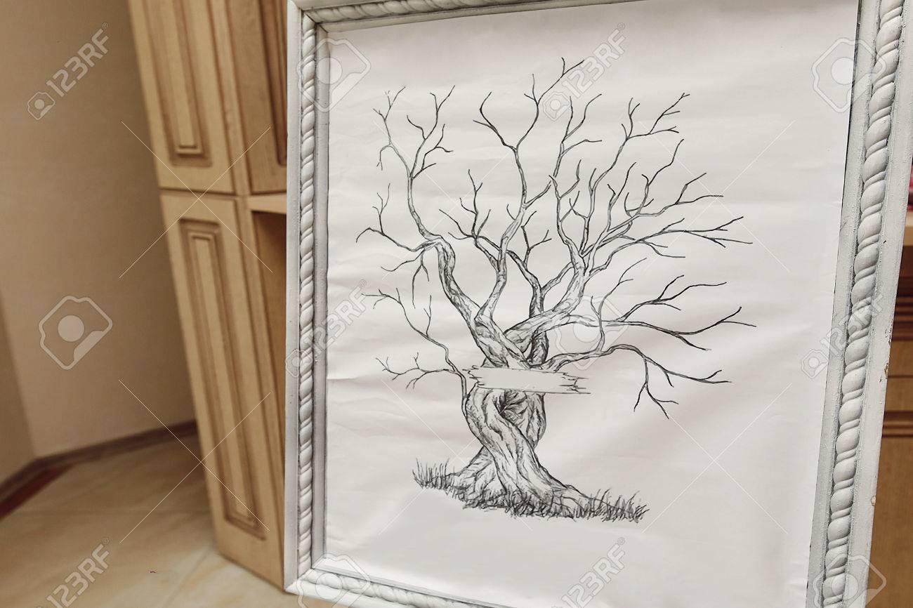 Rahmen Mit Baum Fur Gaste Fingerabdrucke Hochzeitsbaum Fingerabdruck Idee Standard Bild