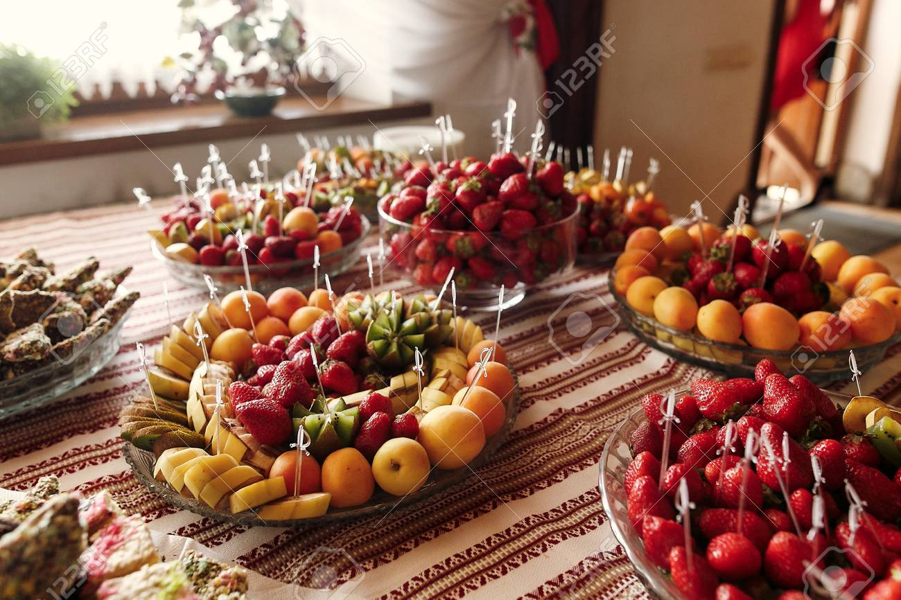 Delicious Fruit Table At Wedding Reception, Luxury Catering In ...