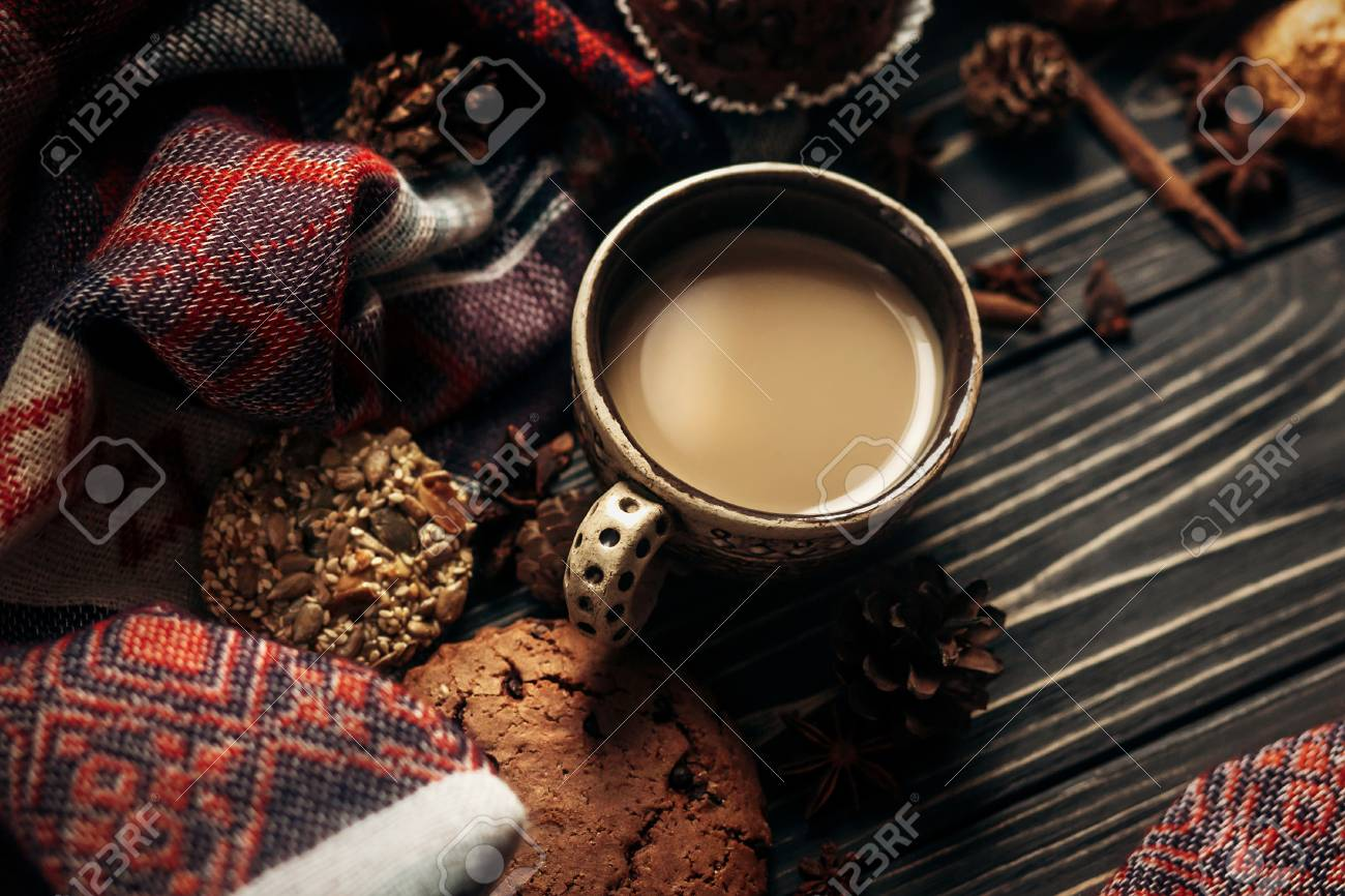 Aromatic Coffee Cookies And Spices On Wooden Background Stylish Rustic Winter Wallpaper Space For