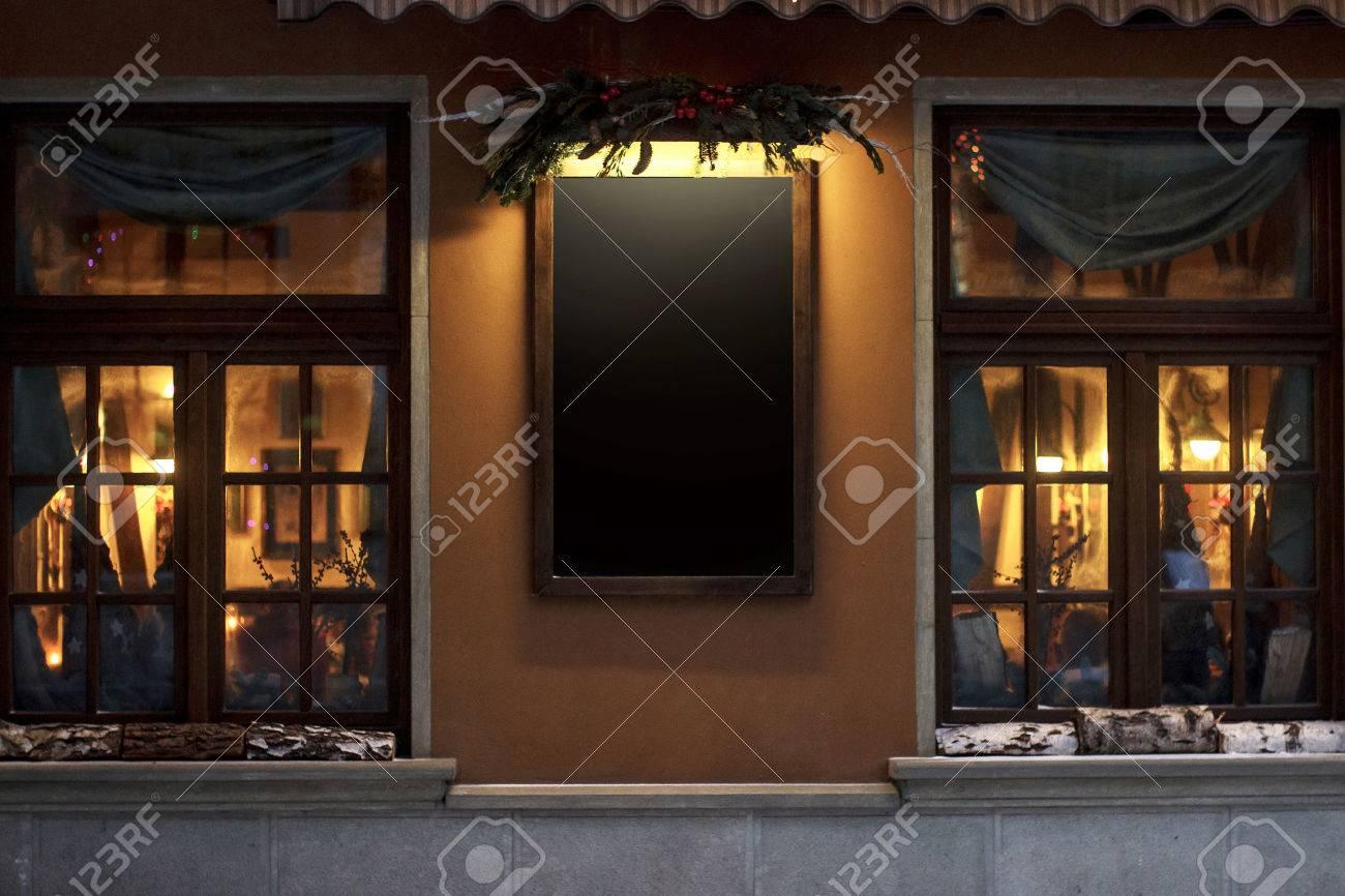 Leeres Schild Für Werbetexte. Weihnachten Luxus Dekoriert Store ...